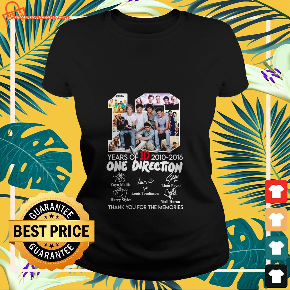 10 years of 1d 2010 2016 one direction thank you for the memories Ladies tee 2