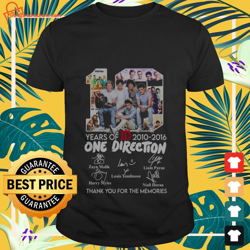 10 years of 1d 2010 2016 one direction thank you for the memories T shirt 1