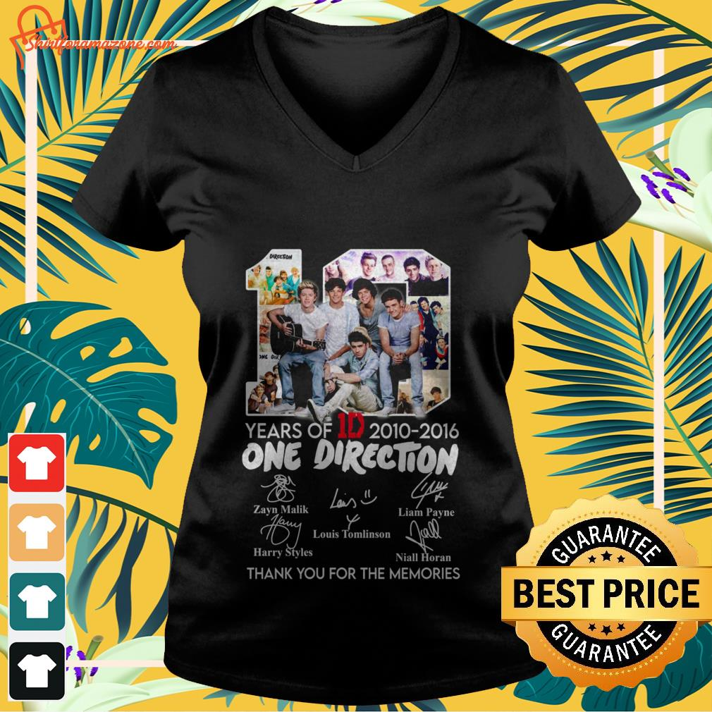 10 years of 1d 2010 2016 one direction thank you for the memories V neck t shirt 2