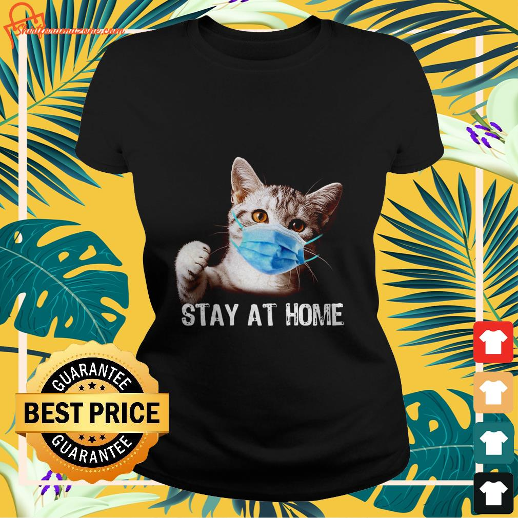 cat stay at home Ladies tee