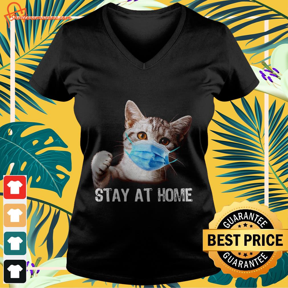 cat stay at home V neck t shirt
