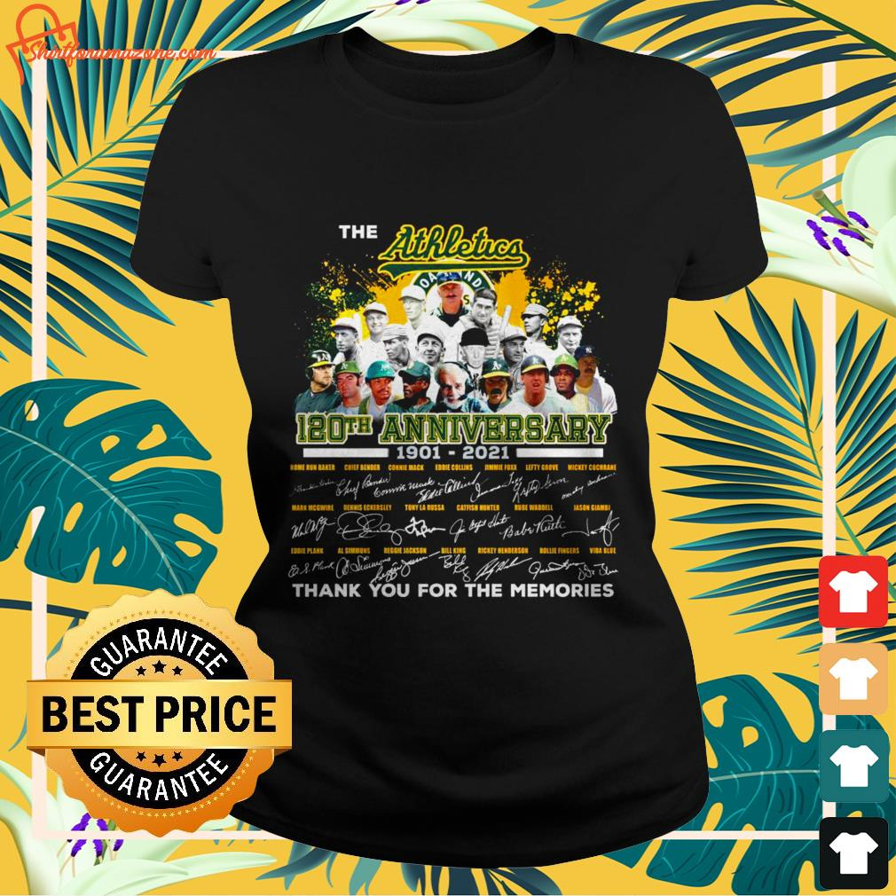 The Athletics 120th anniversary 1901 2021 signature thank you for the memories ladies tee