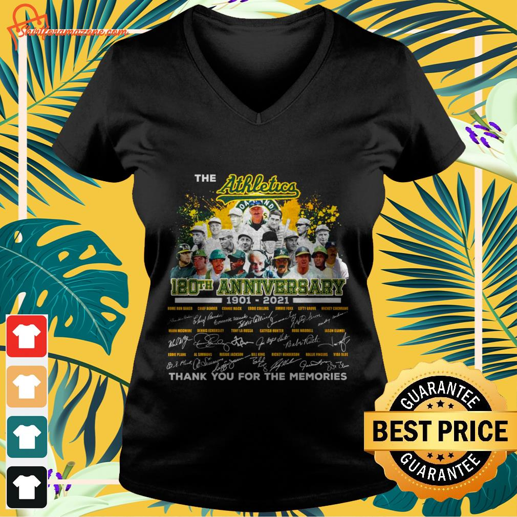The Athletics 120th anniversary 1901 2021 signature thank you for the memories v neck t shirt
