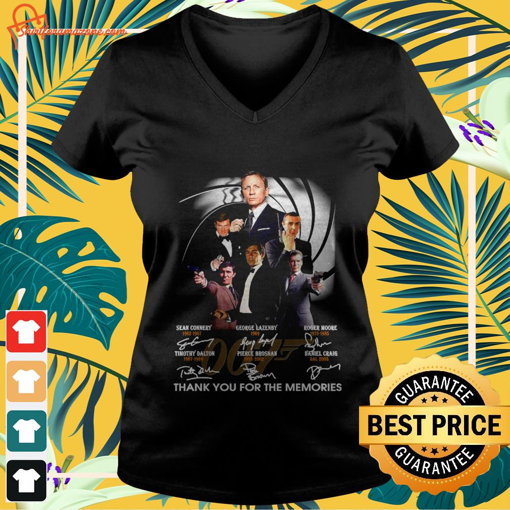 007 signature thank you for the memories v neck t shirt