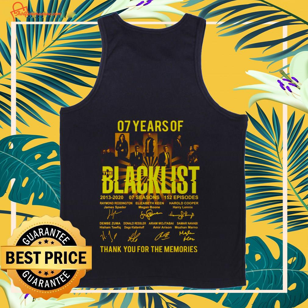 07 years The Blacklist thank you for the memories Tank-top