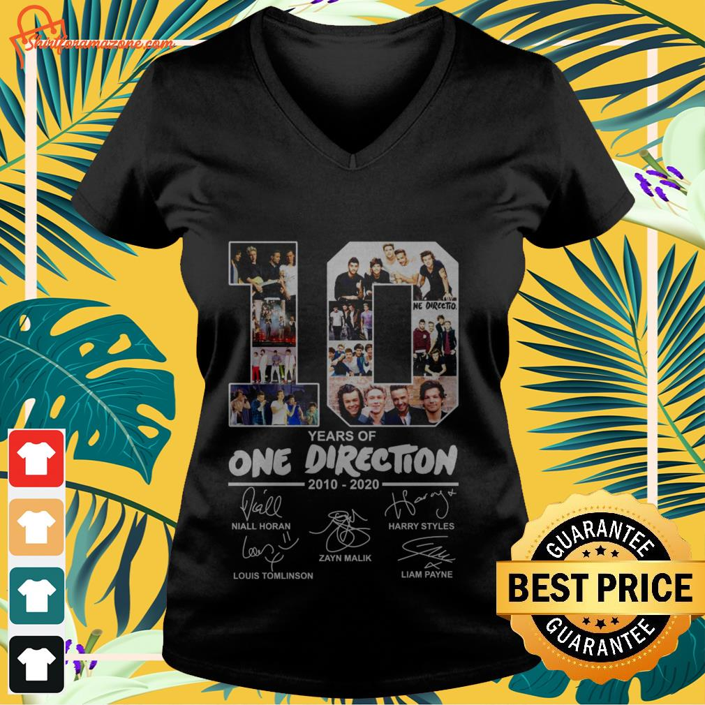 10 years of One Direction 2010 2020 signatures v-neck-tee-shirt