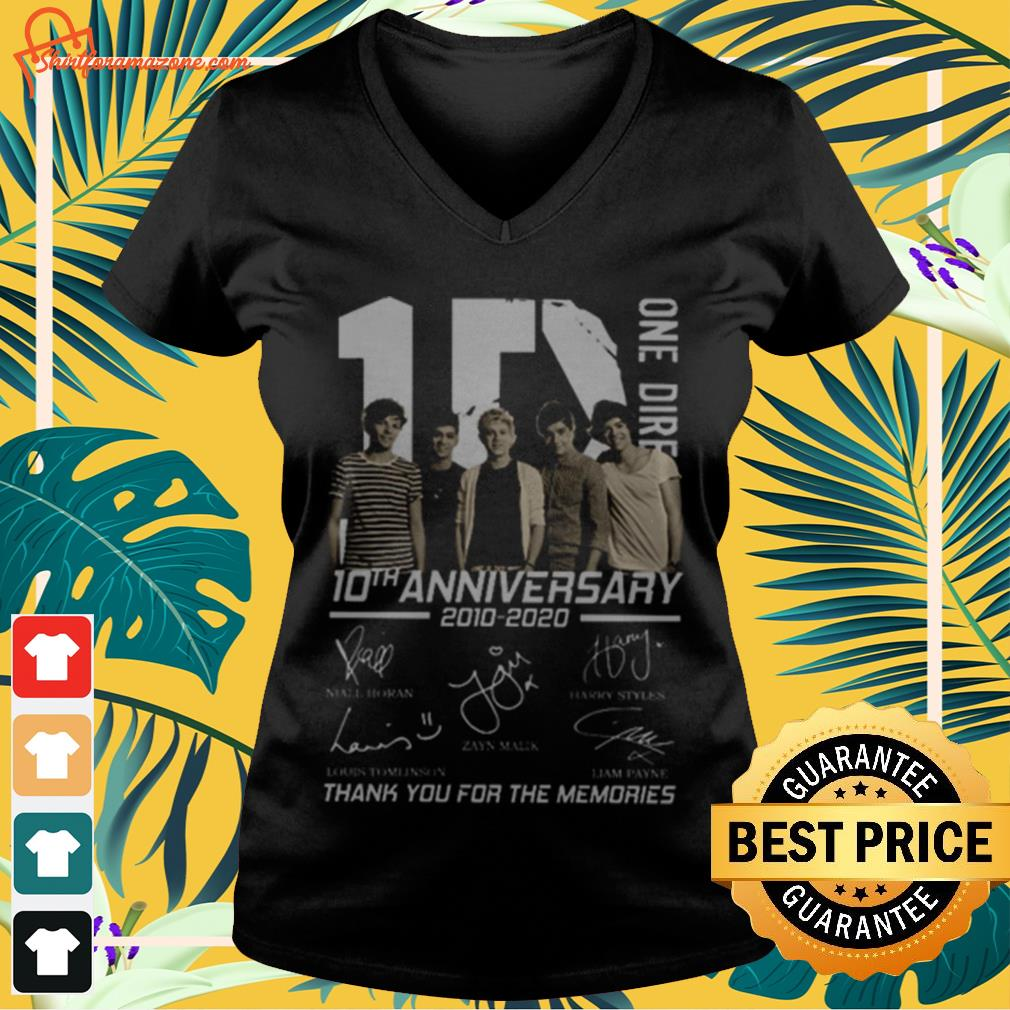 10 One Direction 10th anniversary 2010 2020 signatures V-neck t-shirt