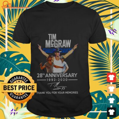 Tim McGraw 28th Anniversary 1992-2020 signature thank you for your memories T-shirt