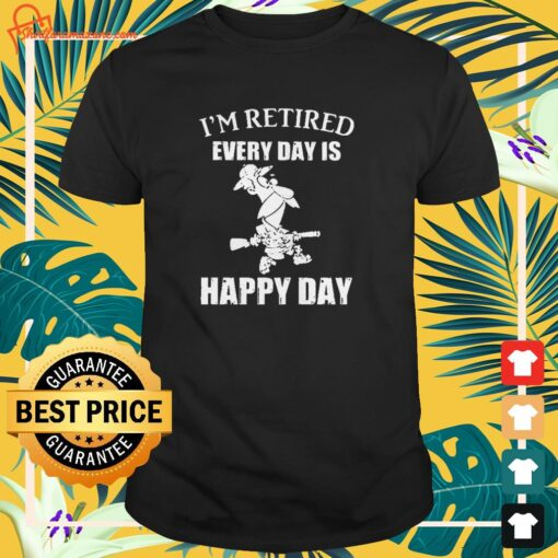 cartoon im retired every hour is happy hour t shirt