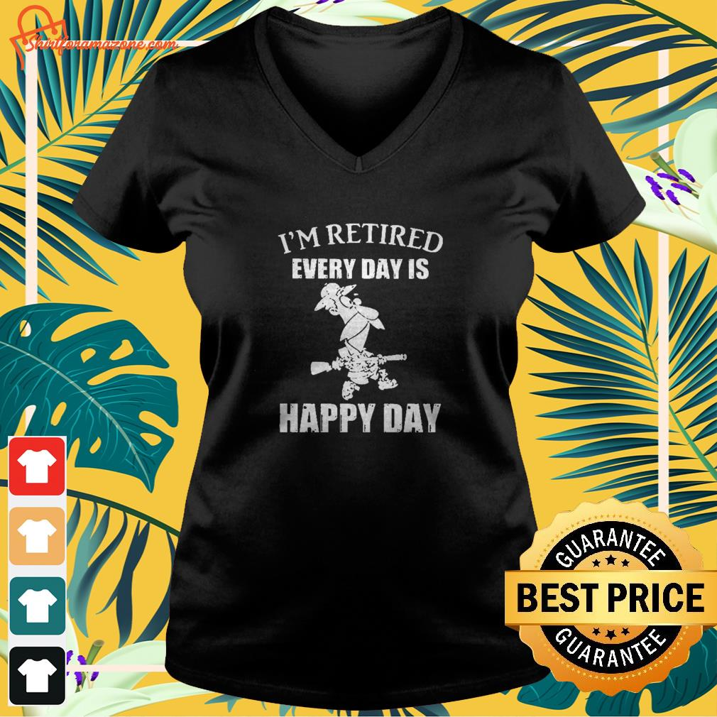 Cartoon I'm retired every hour is happy hour v-neck t-shirt