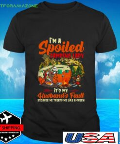 Sally And Jack Skellington I'm Spoiled Camping Lady It's My Husband's Fault t-shirt