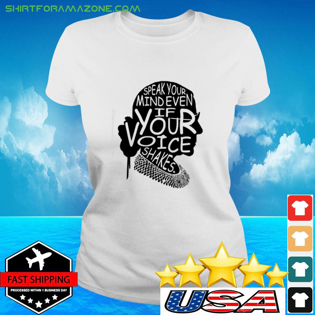 Simple Woman Speak your mind even if your voice shakes ladies-tee
