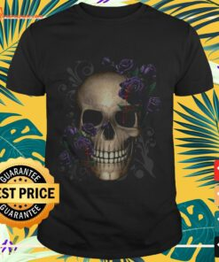 Skull and flowers with blood t-shirt