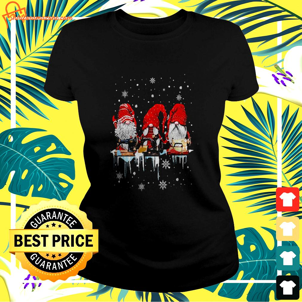 Gnomes Quilting Lovers Christmas ladies-tee