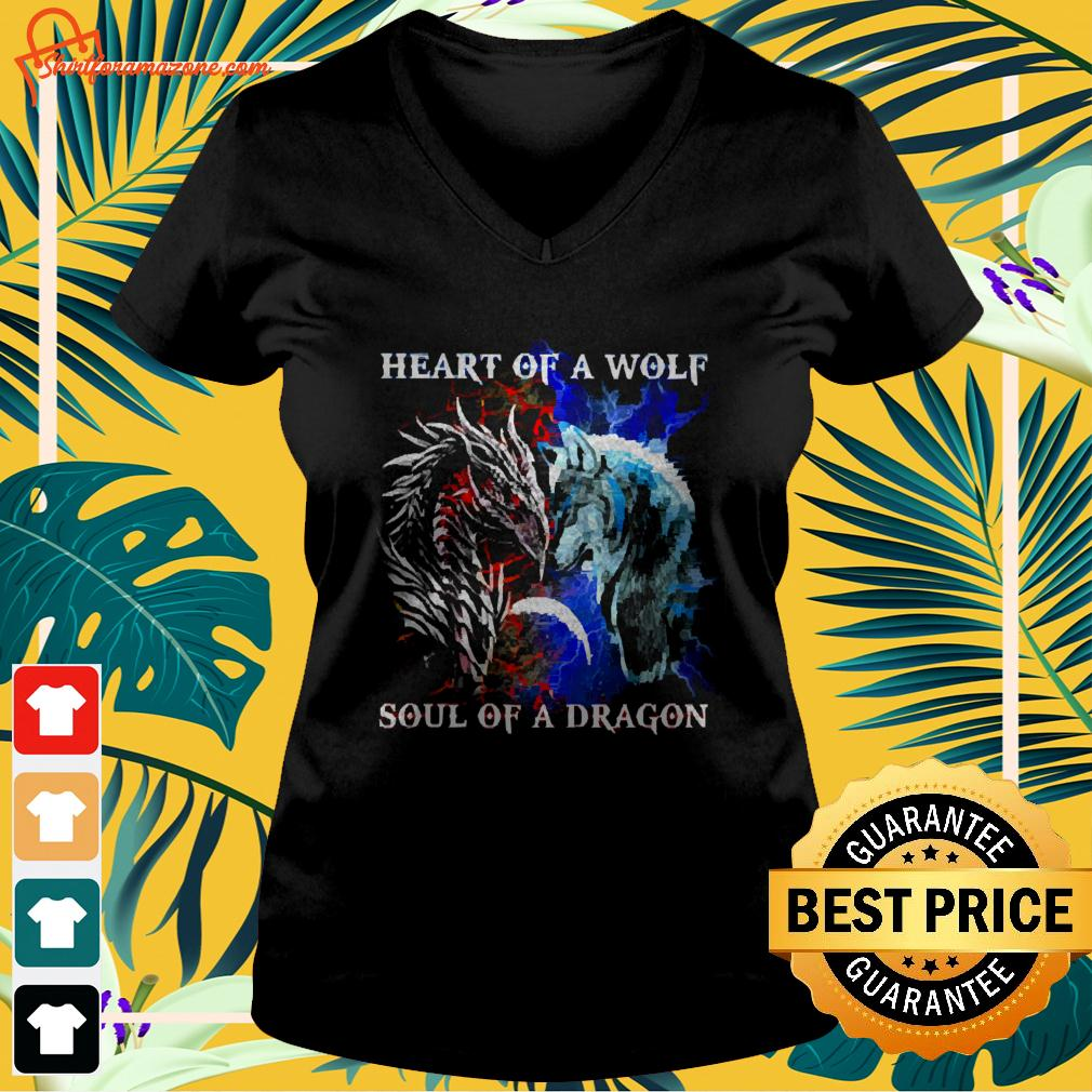 Heart of a wolf and soul of a dragon v-neck t-shirt