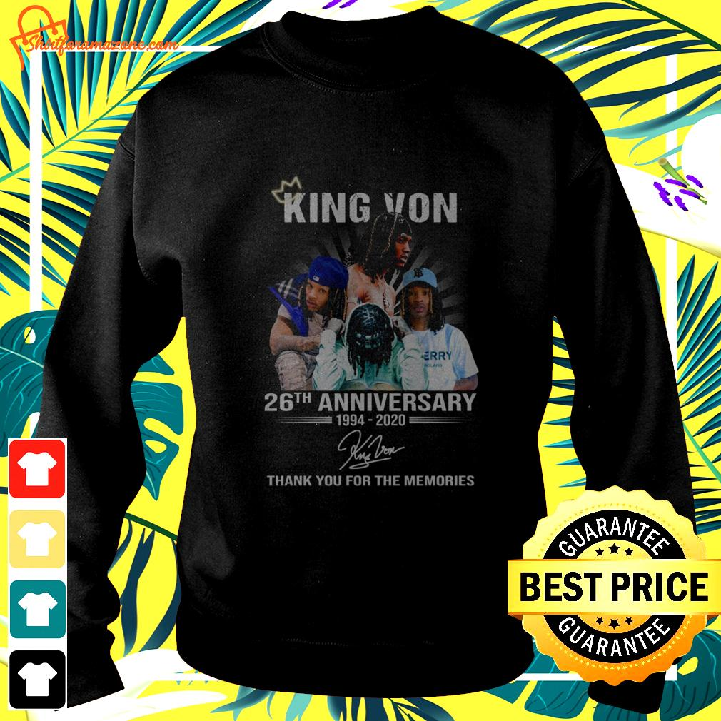 King Von 26th anniversary 1994 2020 thank you for the memories sweater