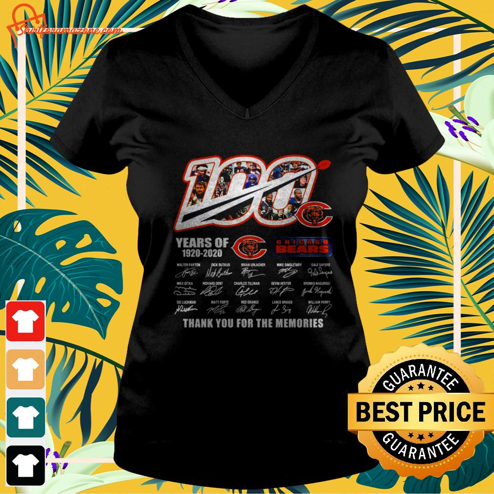 100 years of Chicago Bears 1920-2020 thank you for the memories v-neck t-shirt