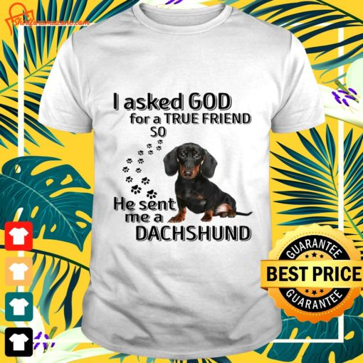 I asked god for a true friend so he sent me a Dachshund t-shirt