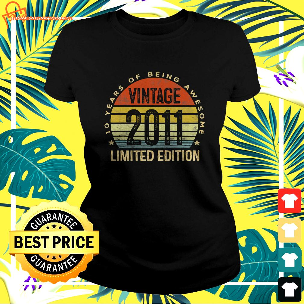 10 Year Old Gifts Vintage 2011 Limited Edition 10 ladies-tee