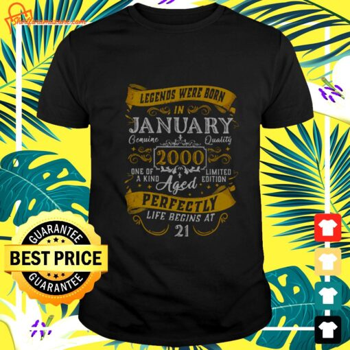 2000 Years Old Vintage January 2000 21st Birthday t-shirt