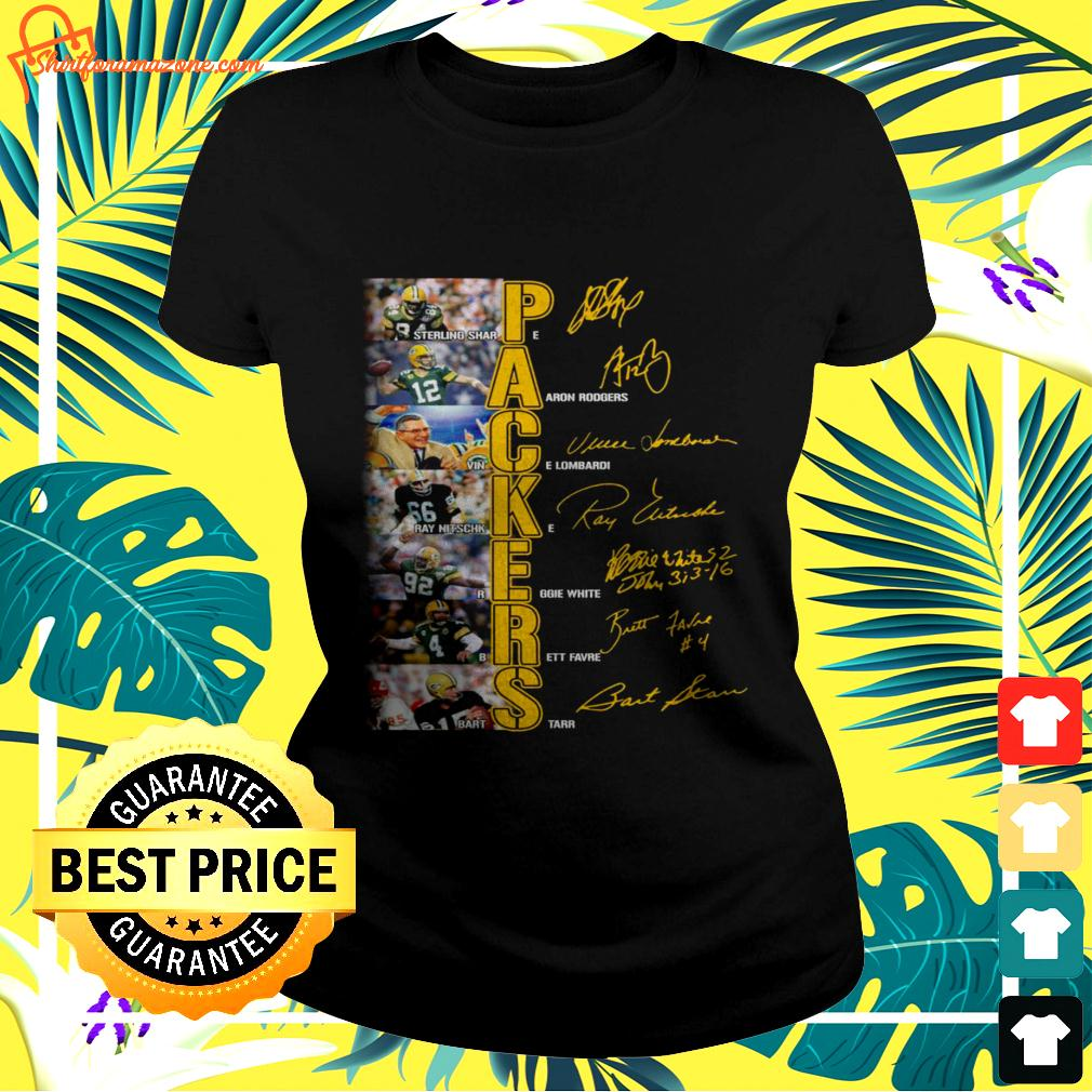 Green Bay Packers players signatures version ladies-tee