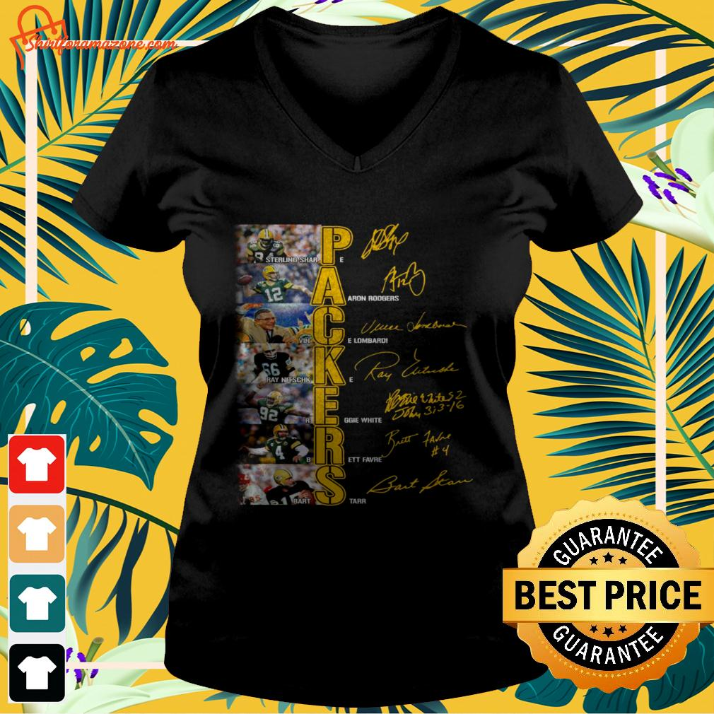 Green Bay Packers players signatures version v-neck t-shirt