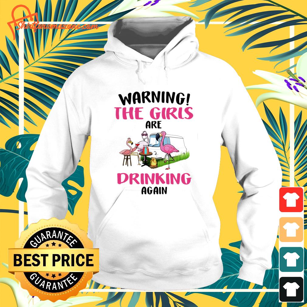 Flamingos warning the girls are drinking again hoodie
