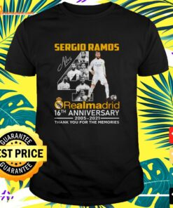 Sergio Ramos Real Madrid 16th anniversary 2005 2021 thank you for the memories t-shirt